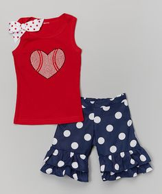 Look at this Red Baseball Heart Tank & Ruffle Shorts - Toddler & Girls on #zulily today!