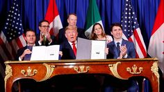 President Trump on Friday joined leaders of Mexico and Canada in signing a new three-way trade pact to replace NAFTA, scoring a big win at the opening of the Group of 20 summit in Argentina. Jared Kushner, Justin Trudeau, Donald Trump, Government Of Canada, Trump Sign, Senior Trip, Hurdles, Public Relations, Barack Obama