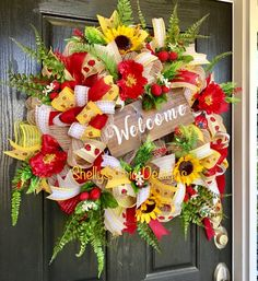 Welcome wreath Sunflower wreath Summer burlap wreath Summer Poppy Wreath, Sunflower Wreaths, Floral Wreath, Summer Door Wreaths, Holiday Wreaths, Spring Wreaths, Winter Wreaths, Welcome Wreath, Deco Mesh Wreaths