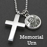 Memorial Ashes Urn Cross Necklace w/ Photo Charm