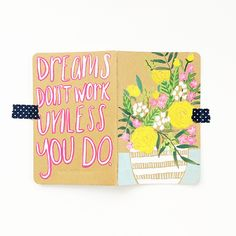 Hand-painted spring bouquet in fresh shades of white, yellow, green, and pink sits in a white and aqua striped vase on the front cover of this sturdy authentic Moleskine® journal. The back cover featu