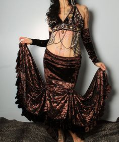 Tribal Belly Dance Velvet Skirt Mermaid skirt. Dark by CrudeThings
