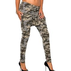 Green Ladies Chic Camouflage Printed Harem Leisure Pants ($34) ❤ liked on Polyvore featuring pants, green, harem trousers, green harem pants, white camouflage pants, camo trousers and camoflage pants