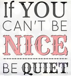 Be nice or quiet. I need to take this advice more often