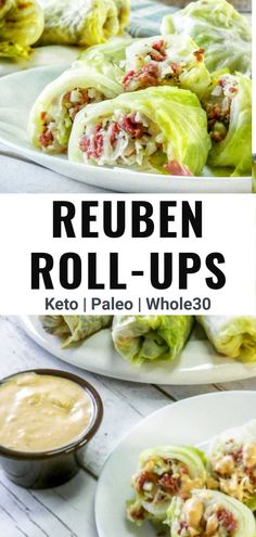 These reuben cabbage rolls take sliced corned beef, that is wrapped in cabbage and dipped in a healthy thousand island dressing. A great cabbage roll up recipe for those on a keto or low carb diet. Reuben cabbage wraps are also compliant. Roll Ups Recipes, Beef Recipes, Low Carb Recipes, Cooking Recipes, Shrimp Recipes, Recipies, Clean Eating Recipes, Healthy Dinner Recipes, Healthy Meals