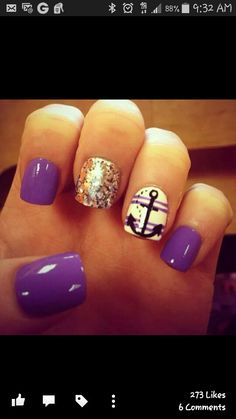 sail nails with a dash of purple and gold night life is calling