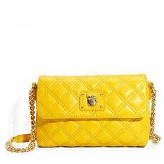 MARC JACOBS The Single Quilted Leather Crossbody Bag - Bright Yellow - Sale:	$525.00