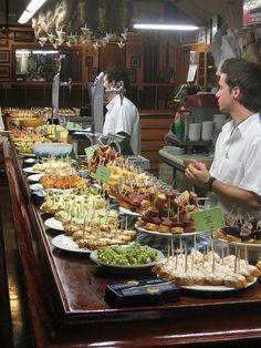 Pintxos in San Sebastián, Spain...Basque country tapas. A1. El bar, las tapas, la tasca, los pinchos.