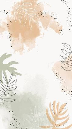 Download premium vector of Beige leafy watercolor mobile phone wallpaper