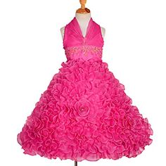 Dressy Daisy Girls Beaded Halter Embossed Flower Pageant Dresses Wedding Party Dress Size 34T Hot Pink >>> Find out more about the great product at the image link.