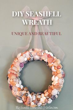 On vacation, I came across a seashell wreath in a little shop in Florida. That wreath is the inspiration for this Unique and Beautiful DIY Seashell Wreath Driftwood Crafts, Seashell Crafts, Diy Wreath, Wreaths, Creative Crafts, Diy Crafts, Seashell Wreath, I Love The Beach, Do It Yourself Crafts