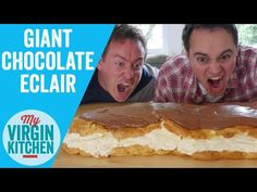 It's the turn of the eclair, yep a giant chocolate eclair gets the epic treatment! Giant Food, Giant Chocolate, Mini Foods, Eclairs, Cooking Videos, Tea Cakes, Recipe Box, Food Inspiration, Buffet