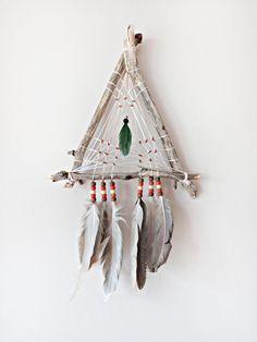 DreamCatcher, Boho Wall Hanging, Triangle DreamCatcher, Home Decor, Tribal, Home Decor, Wooden, Natural, Talisman, Triangular Dreamcatcher