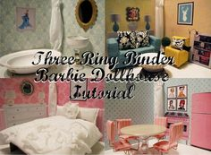 I wish I could replace the girls doll houses with these. Southern Disposition: DIY Three Ring Binder Barbie Dollhouse Tutorial So cute! And so much better than storing a big ol Barbie house! Dollhouse Tutorials, Diy Dollhouse, Homemade Dollhouse, Cardboard Dollhouse, Barbie Furniture, Dollhouse Furniture, Dollhouse Interiors, Miniature Furniture, Diy For Kids