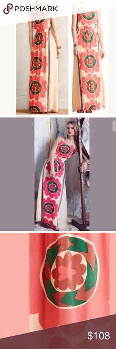 "NWT Anthropologie Mira Costa Maxi Dress Sz M New With Tag Anthropologie Mira Costa Maxi Dress Sz M Reviving ancient Indian techniques of handprinting and needlecraft, the Anupamaa brand marries a vintage style with a bold, western aesthetic. With a slinky cinched waist and bold, color-pop pattern, this showstopper is crafted from textured silk. By Anupamaa Drawstring waist Pullover styling Silk; cotton lining  Sz M: armpit to armpit: 19.75"", length: 60"" Anthropologie Dresses"