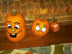 Pumpkin Faces! All you need is acrylic paint and paintbrushes!