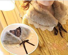 Girls club imitation rabbit fur fake lace collar wool-like fur wool scarf shawl collar collar Q42 # - Taobao