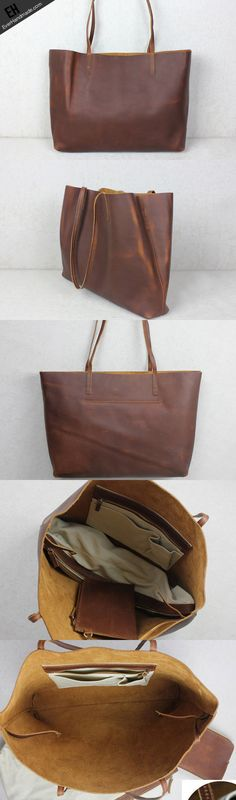Handmade red brown leather tote bag vintage shoulder bag shopper bag women with inner
