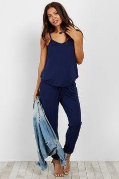 37c1ecd320 Navy Blue Basic Sleeveless Maternity Jumpsuit