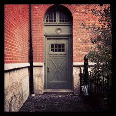 #Door with window above in #Gothenburg #Sweden #doors #window #Swedish #Brick #building #dorrar #fonster