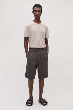 LONG JERSEY SWEATSHORTS - Grey - Shorts - COS Cos Looks, Grey Shorts, New Product, Gray Color, Sweatpants, Legs, Model, Cotton, How To Wear