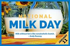 Milk is in your butter, yogurt, lattes, cereal, and most likely in the whipped topping on your pies. The star ingredient in our favorite dairy foods and it deserves a churn, I mean, a turn to shine. #milk National Celebration Days, Ginger Day, Milk Duds, Human Kindness, No Dairy Recipes, Caption Quotes, Food Staples, Whipped Topping, Non Alcoholic