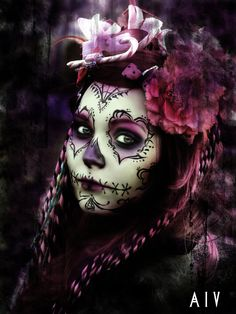 Such a really different and soft style. Very pretty. Mexico Day Of The Dead, Day Of The Dead Girl, Day Of The Dead Party, Day Of The Dead Skull, Sugar Skull Face, Skull Face Paint, Sugar Skulls, Candy Skull Makeup, Candy Skulls
