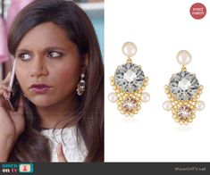 Mindy's crystal earrings on The Mindy Project. Outfit Details: http://wornontv.net/45578/ #TheMindyProject