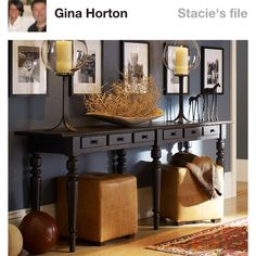 Console tables with storage ottoman below