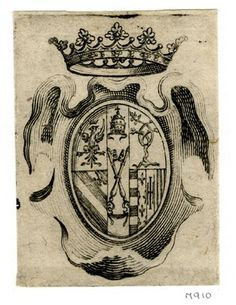 Coat of arms of the Roveres, in cartouche surmounted by crown; illustration to Andrea Salvadori's 'Guerra di Bellezza, festa a cavallo fatta in Firenze per la venuta del serenissimo principe d'Urbino l'ottobre del 1616 in Firenze' (Florence: Zanobi Pignon