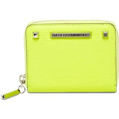 Rebecca Minkoff Mini Zip Leather Wallet (3.265 RUB) ❤ liked on Polyvore featuring bags, wallets, electric yellow, studded wallet, leather bags, zip wallet, leather zip around wallet and real leather wallets