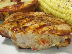 Jenn's Food Journey: Grilled Pork Chops Stuffed with Goat Cheese and Roasted Red Peppers