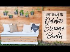 Build an outdoor storage bench with a twist - the hidden storage can hold two rubber totes! This backyard storage box is ideal for storing pool toys, kid's outdoor toys, gardening tools, patio cushions, and more. Pool Storage Box, Plastic Storage Tubs, Diy Storage Bench, Backyard Storage, Diy Bench, Outdoor Storage, Hidden Storage, Storage Containers, Fresco
