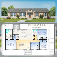 This is a 4 bedroom expanded version of the Popular Pine Bluff Plan. It has options for a Full Length Porch or an Simple Covered Entrance. Including the full length Porch, this plan is wide and long. Building A Porch, Building Plans, Building A House, Building Ideas, Small House Plans, House Floor Plans, Family Home Plans, Open Floor Plans, Metal Homes Floor Plans