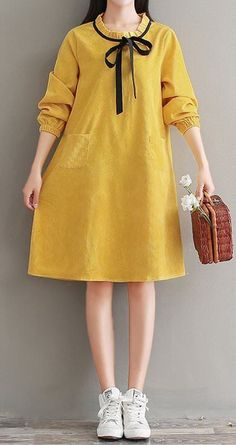 Women loose fit plus size yellow dress bow ribbon tunic pocket fashion trendy #Unbranded #dress #Casual