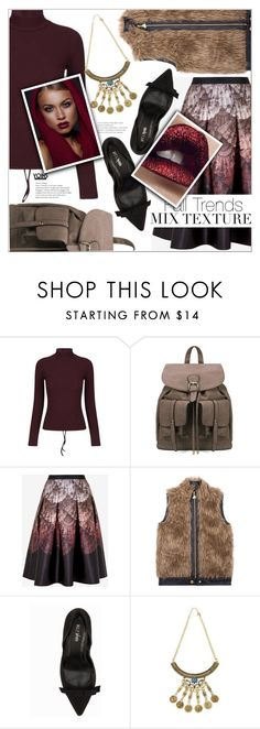 """""""Style Tip: Mixed Textures"""" by eclectic-chic ❤ liked on Polyvore featuring Ted Baker, Betsey Johnson, Nly Shoes, MANGO, turtleneck, MixedTextures and yoins"""
