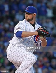 Starting pitcher Jon Lester of the Chicago Cubs delivers the ball against the Cincinnati Reds during the home opener at Wrigley Field on April 11, 2016 in Chicago, Illinois. The Cubs defeated the...