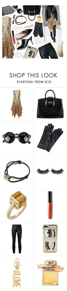"""""""Glitter and Gold"""" by theroyalglam ❤ liked on Polyvore featuring Louis Vuitton, Eska, Battington, J Brand, Chiara Ferragni, Givenchy and WALL"""