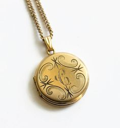 Vintage 12k Engraved Locket Necklace Dainty and Small