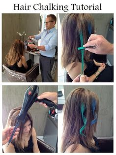Use pastels instead of chalk. 1. Dampen a section of clean hair, 2. Coat section with pastel, 3. Seal the color temporarily by drying with a hair dryer or using a flat iron, 4. Set the color with hair spray, 5. Style as usual.