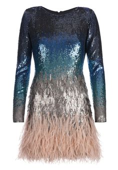 Blue silk dress with graduated tonal blue sequin embellishment, grey drop sequins and nude ostrich feather skirt by Matthew Williamson Look Fashion, Fashion Outfits, Womens Fashion, Fashion Design, Blue Silk Dress, Blue Sequin Dress, Embellished Dress, Blue Dresses, Short Dresses