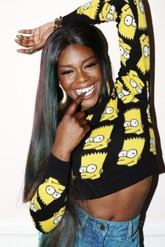 Azealia Banks in a Bart Simpson sweater~holy crap, the 90's are back.