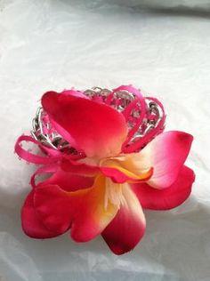 woman: pink lace ribbon soda tab bracelet