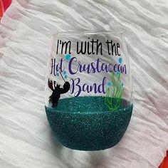 Disney Wine Glass, Glitter Wine Glass, The Little Mermaid, Under The Sea, Mermaid Wine Glass Cute Disney Wine Glass