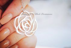 NEW  Rose Necklace  Large Sterling Silver Open by blackpersimmons, $52.00