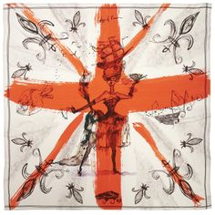 Boston & Boston Age of Reason Victory Pirate Queen Oversized Red Silk Scarf - NEW Collection's Parisienne Chic, Vermillion Red, Pirate Queen, Grey Fox, Pirate Wench, Union Jack, Red And Grey, Victorious, Pirates