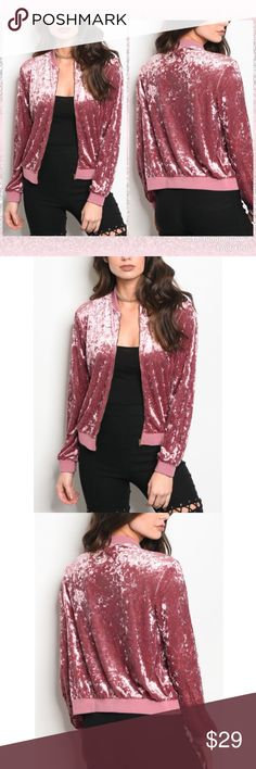 """💕Valentine velvet bomber Cool bomber jacket in mauve crushed velvet. Unlined. Not cropped, hits at the hip. 20"""" Length. Please refer to size chart above. 95% polyester 5% spandex Boutique Jackets & Coats"""