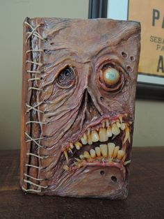 Necronomicon storage box - Book of the dead stash box - leather, polymer clay