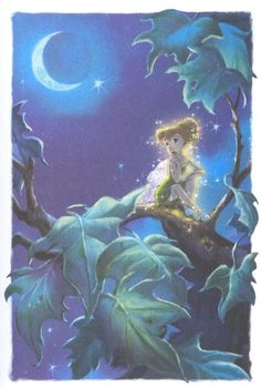 Fairy Tink in Pixie Hollow Gazing at moon and stars Tinkerbell Movies, Tinkerbell And Friends, Peter Pan And Tinkerbell, Cute Disney, Disney Art, Original Disney Princesses, Disney Villains, Disney Faries, Hollow Art