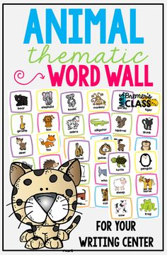 36 Animal themed Word Wall cards to add to your writing center! Words and picture cues included for student reference during writing activities. Kindergarten Writing Activities, Daily 5 Activities, 2nd Grade Activities, Word Work Activities, Spelling Activities, Learning Resources, In Kindergarten, First Grade Spelling, First Grade Words